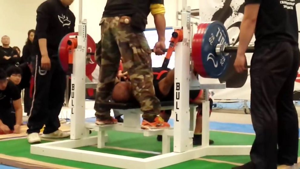 Japanese weightlifter set a new world record on the bench press